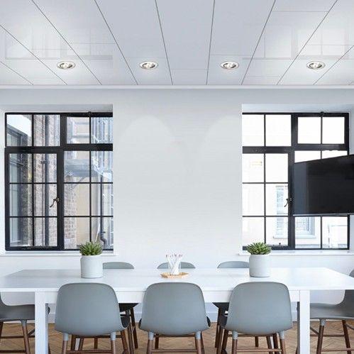 MDF plafond hoogglans wit brede panelen van 395 mm