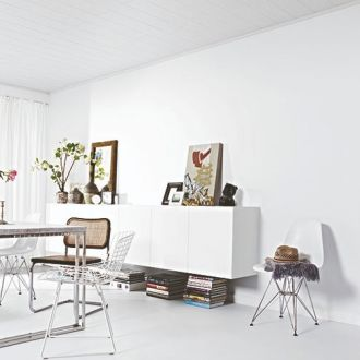 MDF plafond Uni White woonkamer